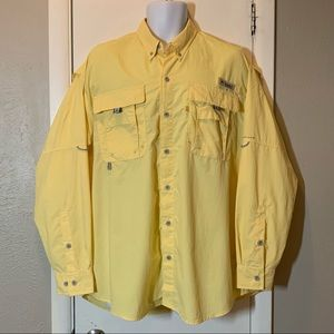 Columbia PFG Vented Button Front Shirt Yellow L
